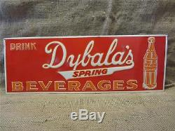 RARE Vintage Embossed Dybala's Beverage Sign Antique Old Cola Soda Drink 9148