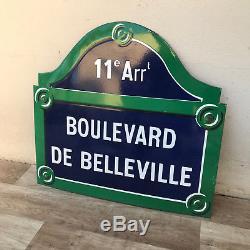 REAL PARIS STREET SIGN Old French Street Enameled Sign Boulevard de Belleville