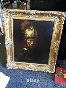 REMBRANDT Antique Old Master Oil Painting on Canvas SINGED by Artists 31.5x27.5
