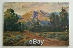 RESTORATION PROJECT Antique Early California Sierras Old Eucalyptus Oil Painting