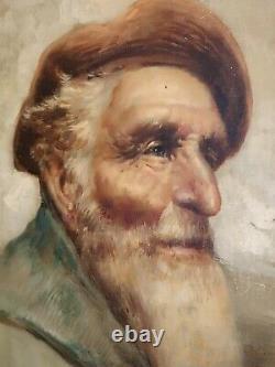 Raffaele Frigerio 1875-1948 Original Antique Portrait Of Old Italian Fisherman