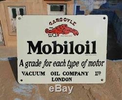 Rare 1930's Old Antique Vintage Mobil Oil Ad Porcelain Enamel Sign Board LONDON