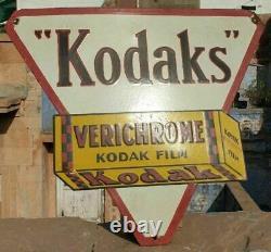 Rare 1930s Old Vintage Antique Kodak Film Adv. Porcelain Enamel Big Sign Board