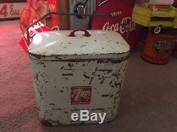 Rare 7up Soda Airline Superior Jr Cooler Antique Sign Vintage Gas Oil Old 12 Pac