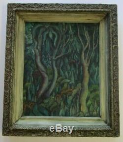 Rare Antique Helen Dedaux Painting Old Gauguin Style Wpa Era Modernist Fauve