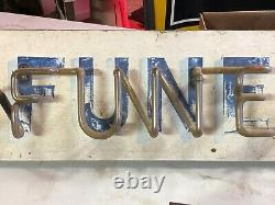 Rare Early BROWN FUNERAL HOME Sign Vintage BLUE NEON Old Antique MORTICIAN