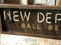 Rare Early NEW DEPARTURE BALL BEARINGS Sign Vintage NEON Old Antique Gas Oil WOW