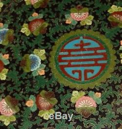Rare Old Chinese Cloisonne Enamel Floral 11 Plate Platter Copper Tray Signed