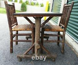 Rare Old Hickory Martinsville In Signed 1940's Vint Pr Hickory Side Chairs/table