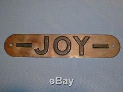Rare Old Original'joy' Mining Equipment Embossed Brass Sign Vintage Antique