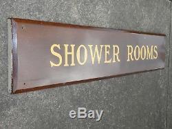 Rare Old Original'shower Rooms' Porcelain Sign Vintage Antique Hotel