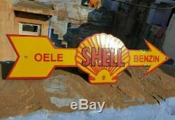 Rare Original Vintage 1930's Old Antique SHELL Ad. Porcelain Enamel Sign Board