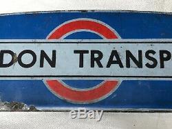 Rare Vintage Old 20th Century London Transport Logo Enamel Wall Advertising Sign