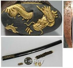 Real Old Japanese Sword Signed KOSHIRAE KOZUKA WAKIZASHI TSUBA