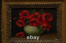 Really OLD 1800s Oil Painting On Wood Still Life Antique Art Gilt Carved Frame