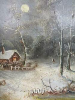 Really old PAINTING antique oil Winter landscape signed