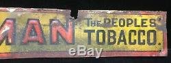 Red Man Tobacco Tin Sign Owensboro Ky Door Push Very Early Vintage Antique Old