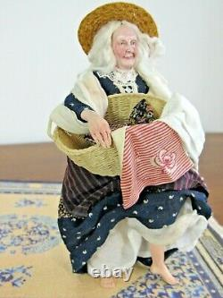 SIGNED Marcia Backstrom Miniature Dollhouse Doll Grandma Old Lady with Laundry m