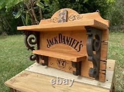 Saloon Jack Daniels Wooden Shelf Rack Whiskey Bar Tavern Old West Antique Look
