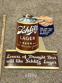 Schlitz Beer Can Cone top Cardboard Sign Litho Rare Old Vintage Antique Lager