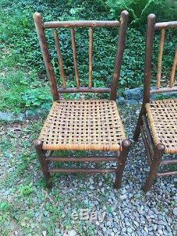Set 4 Signed Antique Old Hickory Side Chairs, Rustic Cape Cod Barn Find