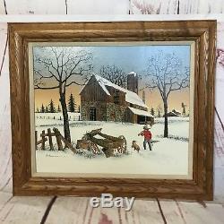 Signed Hargrove Painting Americana Boy & Dog Hunting Returning to Old Barn