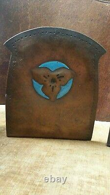 Signed P. Lee 1919 Turquoise Enamel Copper Striking Bookends Arts And Crafts Old