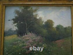Small Gem Antique 19th To 20th Century Oil Landscape Blooming Wild Flowers Old