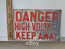 Steel Danger High Voltage Metal Sign Vintage Antique Electrician Mancave Old