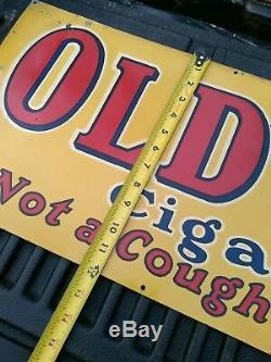 Super nice rare 3 feet long Vintage antique old gold cigarette sign metal sign