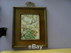 Superb old Chinese handpainted porcelain Qianjiang plaque signed 2 birds wood