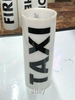 VINTAGE Early NOS Painted MILK GLASS TAXI CAB Roof Top Light SIGN Antique OLD