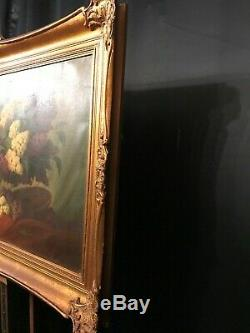 Very Large Huge Old Vintage Oil Painting Still Life, Flowers, Ornate Frame