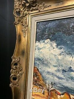 Very Large Old Vintage Oil Painting, Ornate Frame