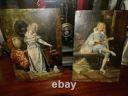 Very Old Antique Oil Paintings On Wood Panel