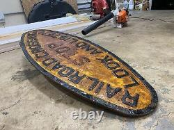 Very Old Antique RR Railroad Cast Iron Crossing Sign Train Plaque 48 Wide