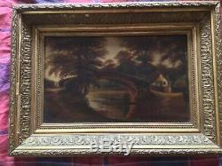 Very old antique vintage gilt framed signed oil painting by artist Barton 1905