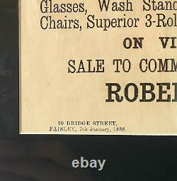 Victorian 1888 Antique Paisley Major Gipps Old Advertising Auction Poster / Sign