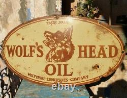 Vintage 1920's Old Antique Very Rare Wolf's Head Oil Porcelain Enamel Sign Board