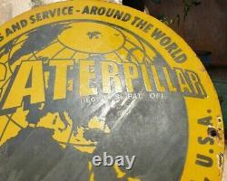 Vintage 1930's Old Antique Rare Caterpillar Ad Porcelain Enamel Sign Board, USA