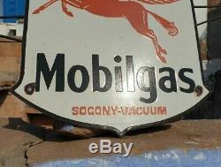 Vintage 1930's Old Antique Rare Mobil gas Oil Stand Porcelain Enamel Sign Board
