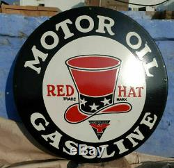 Vintage 1930's Old Antique Rare Red Hat Oil Gasoline Porcelain Enamel Sign Board