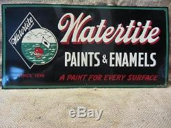 Vintage 1950 Watertite Paint Embossed Sign Antique Old Store Hardware 9534