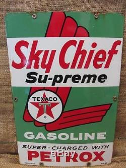 Vintage 1960 Porcelain Texaco Sky Chief Gas Station Sign Antique Old Oil 9658