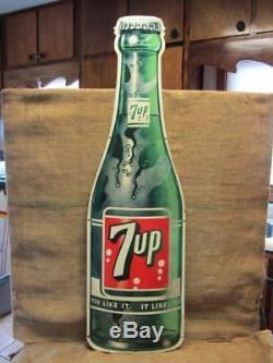 Vintage 1962 Stout 7up Sign w Authentication Antique Old Metal Cola HUGE 9859