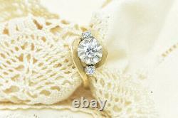 Vintage 3 Stone Old European Cut Diamond 14K Yellow Gold Ring Designer Signed