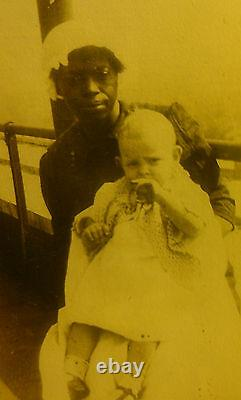 Vintage Antique 1914 African American Nanny Angel Baby Babysitter Rare Old Photo
