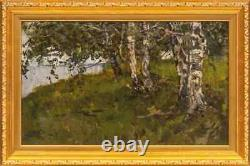 Vintage Antique 1930s Rare Original Carton Old Oil painting Landscape Signed