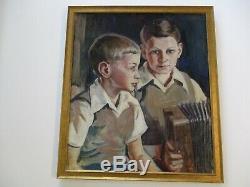 Vintage Antique 1940's Painting Portrait Young Boy Male Musician Accordion Old