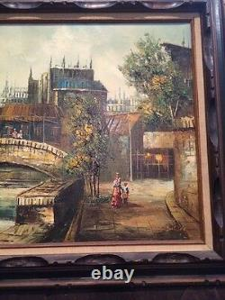 Vintage Antique 19C Oil/Canvas Cityscape Painting Signed C. Salido Framed Old